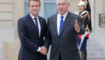Presidente frances, Emmanuel Macron, primer ministro israelí, Benjamin Netanyahu