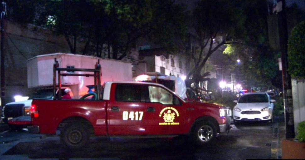 bomberos retiran un arbo caido en la cdmx