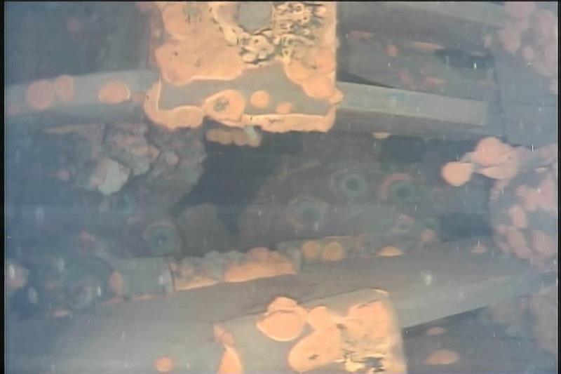 Combustible radiactivo aparece en color naranja en fukushima