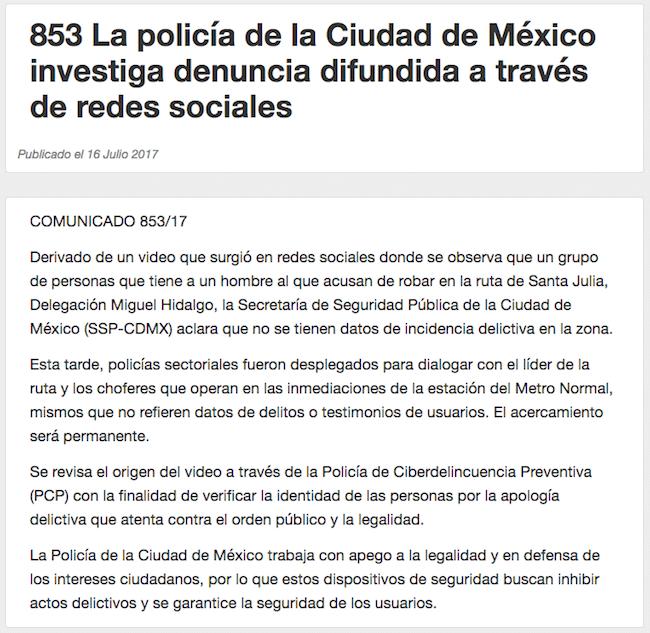Comunicado, policía, CDMX, Justicieros, anónimos, Santa Julia
