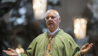 Cardenal alemán, Gerhard Mueller, retratado, catedral de Maguncia, Alemania