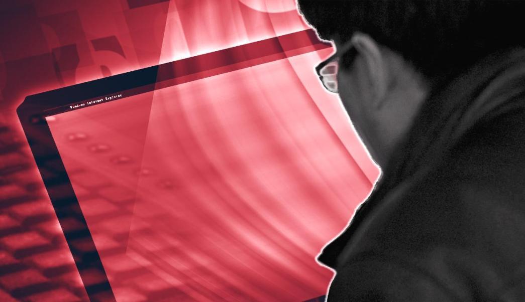 Gráfico de un hombre frente a una pantalla de computadora