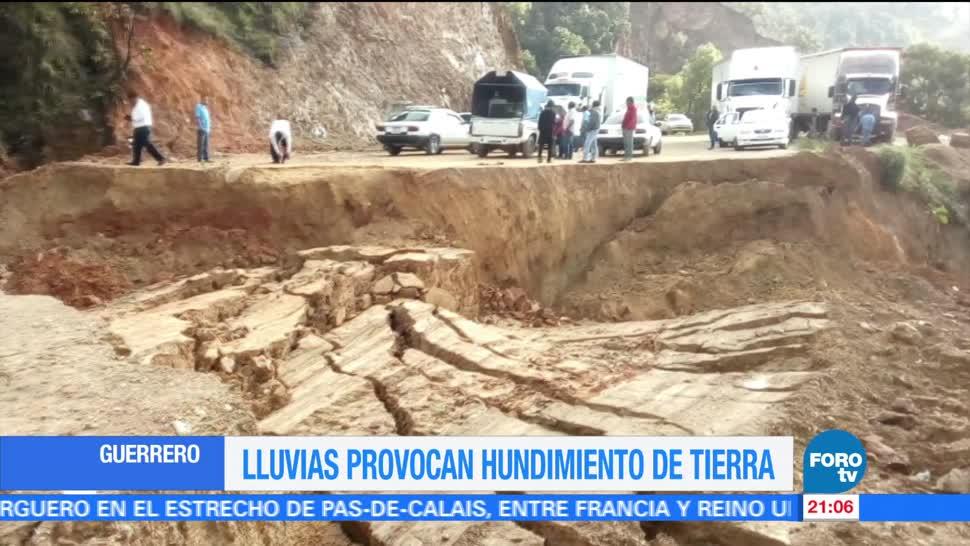 Lluvias, provocan, hundimiento, tierra, carretera, Tlapa – Chilpancingo