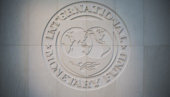 Logotipo del Fondo Monetario Internacional en Washington