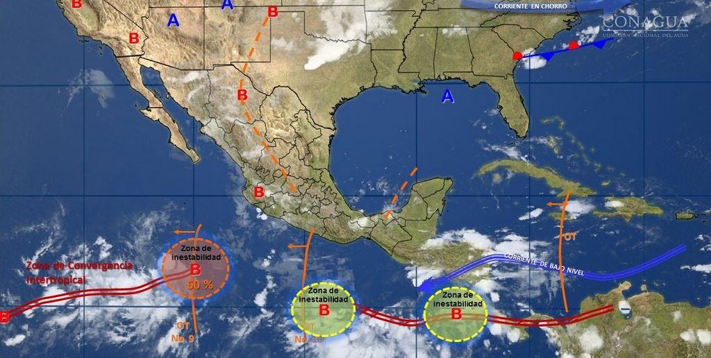 mapa con el pronostico del clima del 4 de julio