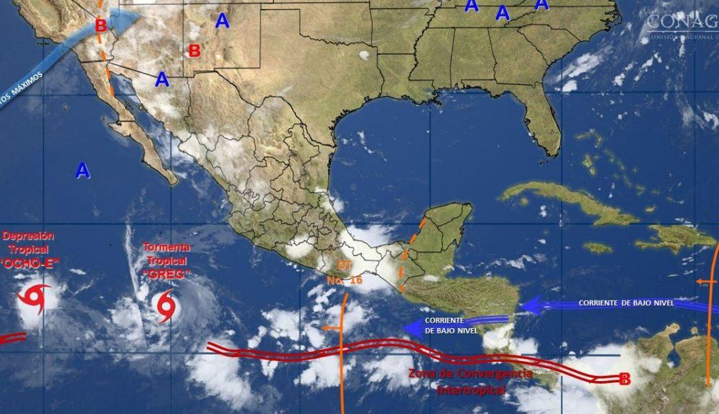 mapa con el pronstico del clima para este 19 de julio