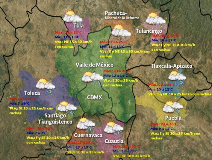Servicio Meteorologico Nacional, Lluvia, Granizo, Valle de Mexico, Estado de Mexico, Puebla, Tlaxcala