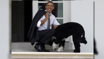 El expresidente Barack Obama acariciando a su perro