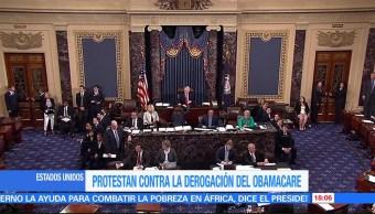 Protestan Derogacion Obamacare Manifestantes Irrumpio Votacion Senado De Estados Unidos