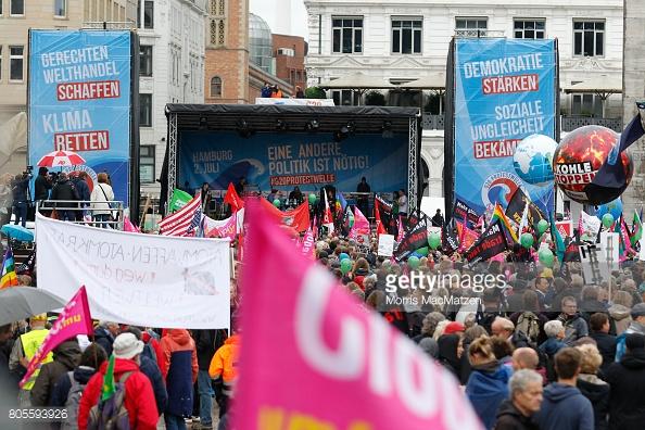 personas, se reúnen, Hamburgo, manifestación, G20, alemania