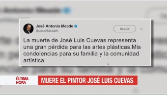 Reacciones, muerte, José Luis Cuevas