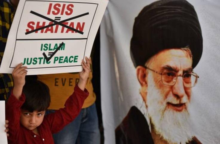 Musulmanes chiíes durante protestas contra los ataques terroristas en Teherán (Getty Images)