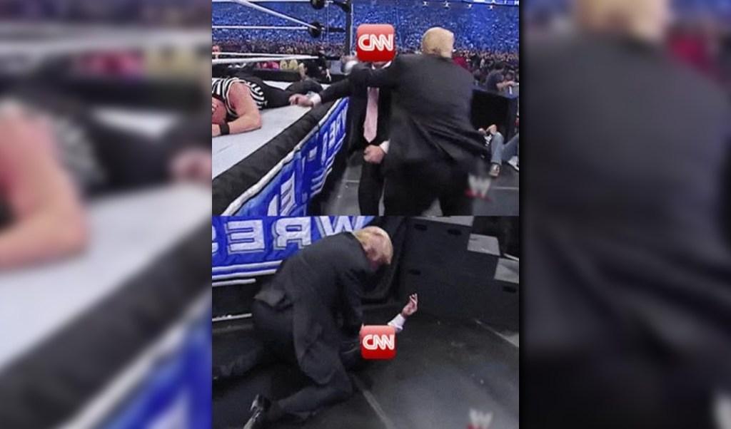En la animación aparece Trump simulando una golpiza a CNN (Twitter: @realDonaldTrump)