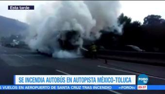 Incendia Autobús Carretera Autopista México Toluca