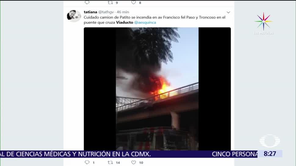 incendia, camión, puente, CDMX