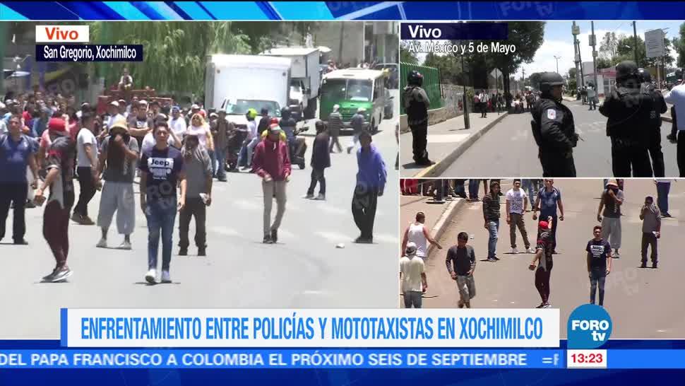 Jóvenes se organizan para enfrentar a policías en Xochimilco