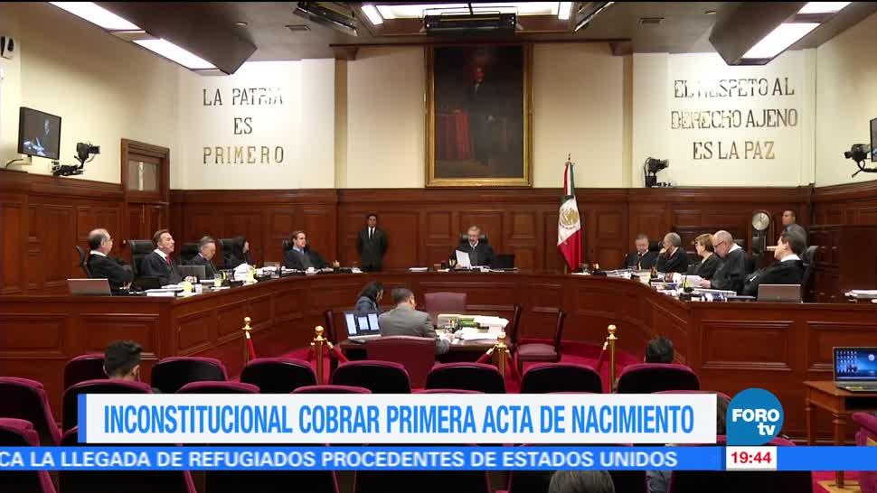 Inconstitucional cobrar primera acta nacimiento SCJN