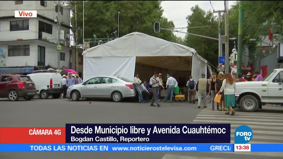 Campesinos bloquean avenida Municipio Libre CDMX