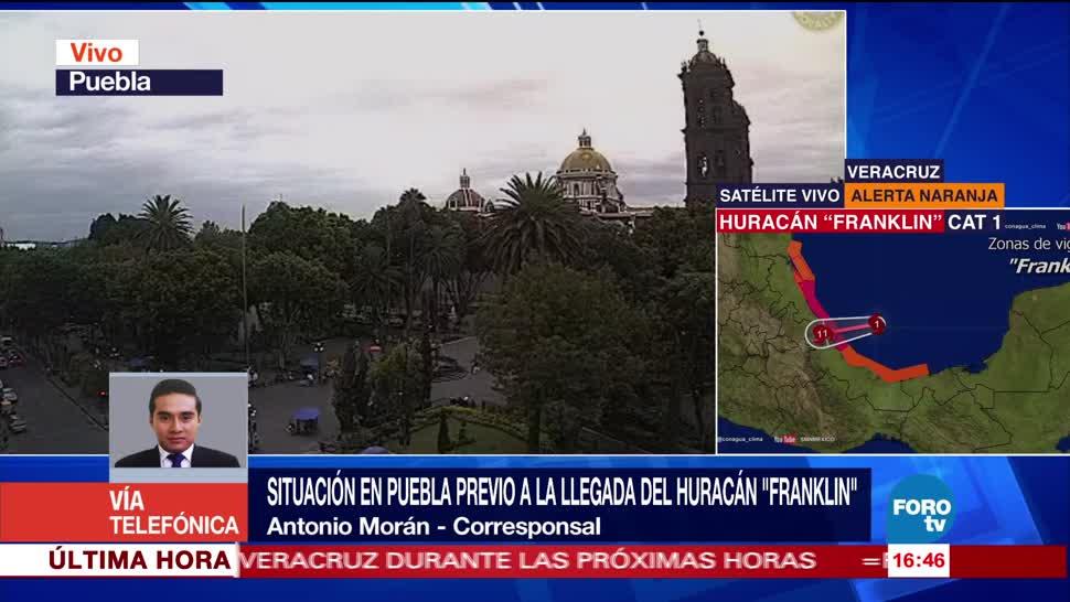Huracán Franklin provoca lluvias en Puebla