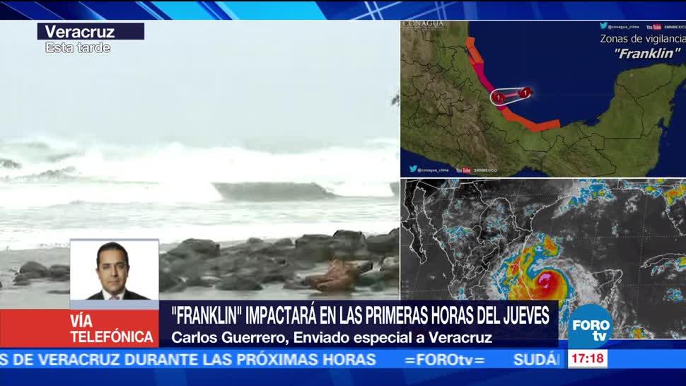 Franklin impactará primeras horas jueves Veracruz