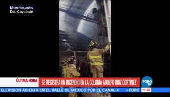 Incendia Bodega Coyoacán Bomberos Colonia Adolfo Ruiz Cortines