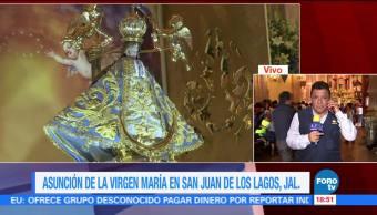 Feligreses Llegan San Juan Los Lagos Jalisco Asuncion Virgen Maria