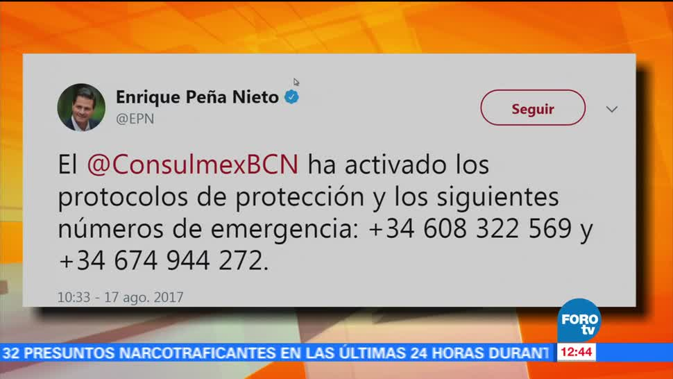 EPN, condena, atentado, Barcelona