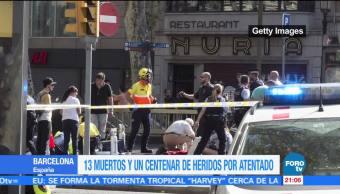 Atentado deja 13 muertos y 100 heridos en Barcelona