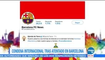 Condena internacional tras atentado en Barcelona