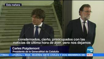 Rajoy Puigdemont Ofrecen Mensaje Conjunto España Generalitat De Cataluña