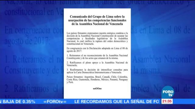 Grupo de Lima condena ruptura democrática y constitucional en Venezuela