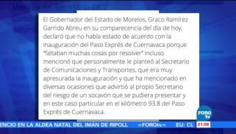 Graco Ramírez nunca hizo alguna especificación sobre el Paso Express SCT