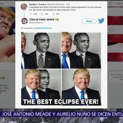 Trump comparte meme del eclipse en Twitter