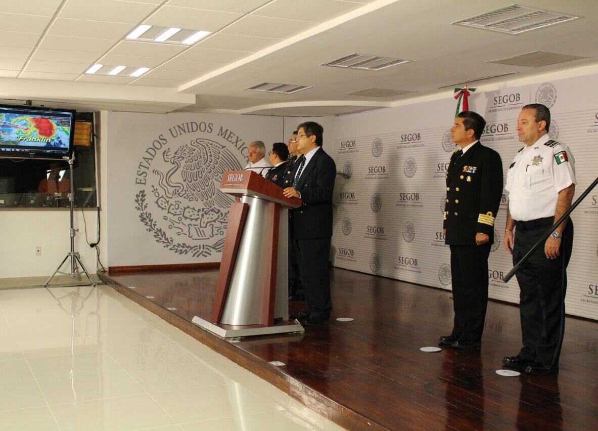 Autoridades de Conagua y Protección Civil de Segob dan a conocer el pronóstico de trayectoria de Franklin