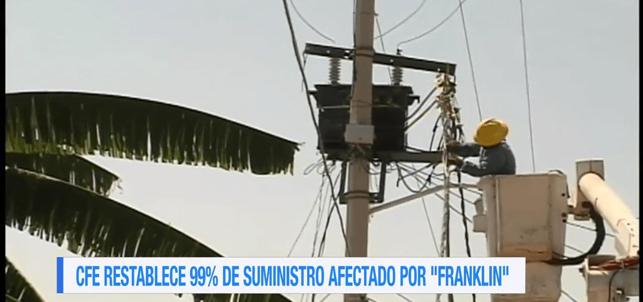 CFE reestablece suministro eléctrico en estados afectados por 'Franklin'