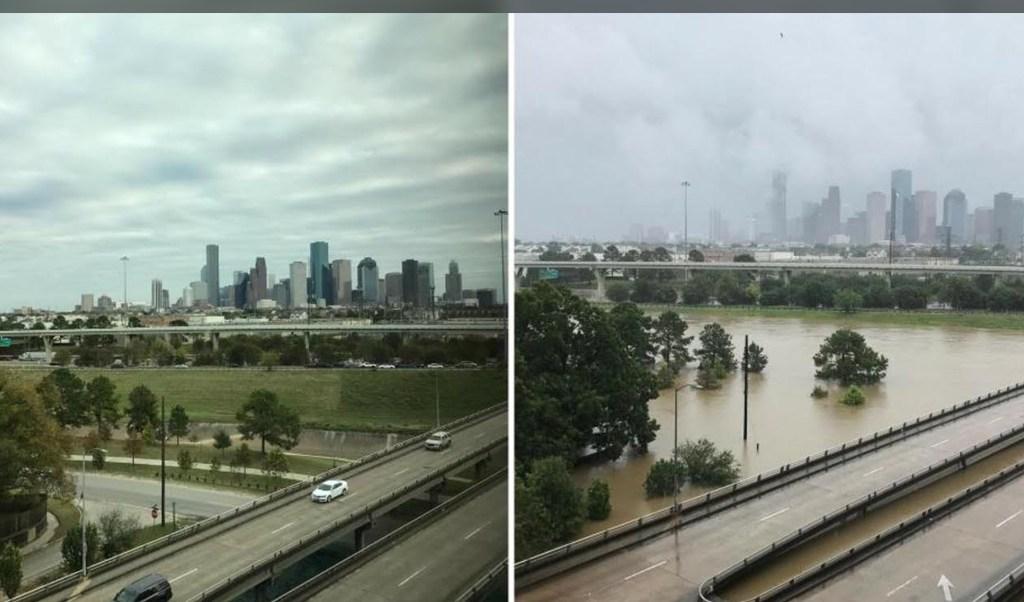 Imágenes muestran a Houston antes y después de 'Harvey'
