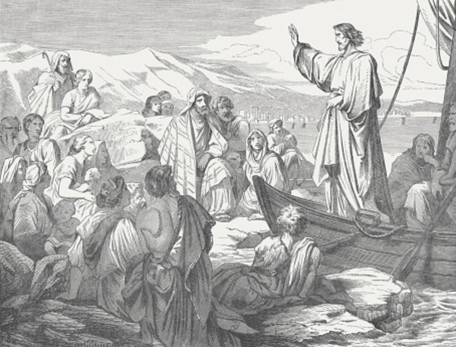 Gráfico representativo de Jesús hablando a sus seguidores
