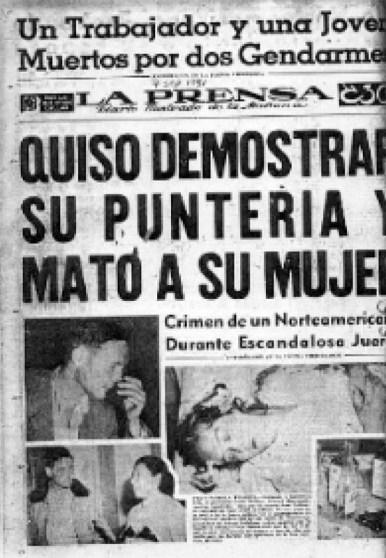 Joan Vollmer, William Burroughs, La Prensa, titular, periódico