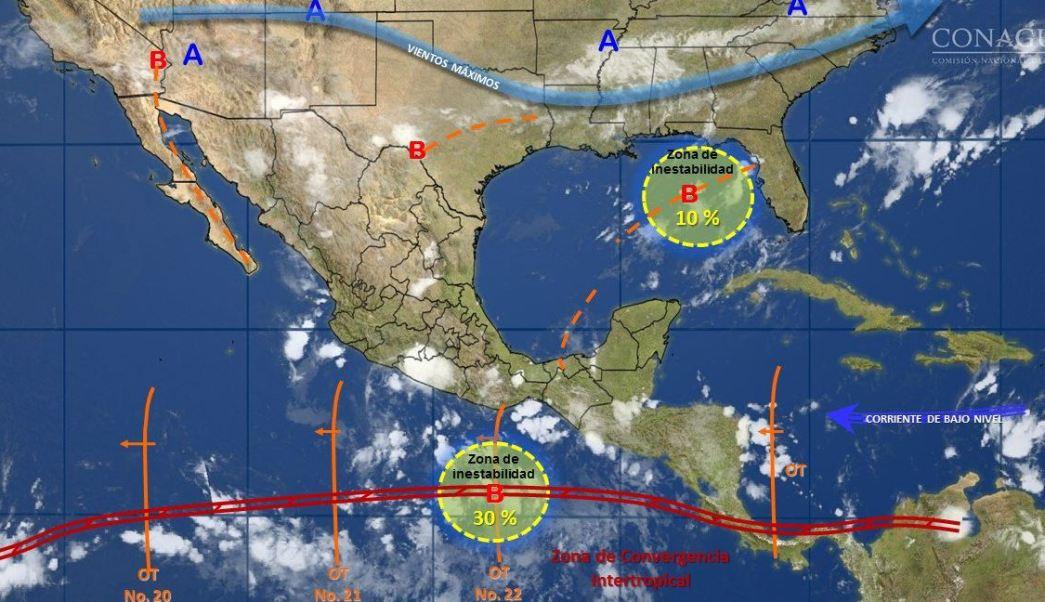 mapa con el pronostico del clima para este 2 de agosto