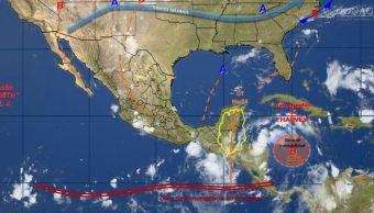 Mapa con el pronostico del clima para este 21 de agosto