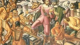 Pintura de 1930 muestra a nativo americano con un supuesto smartphone