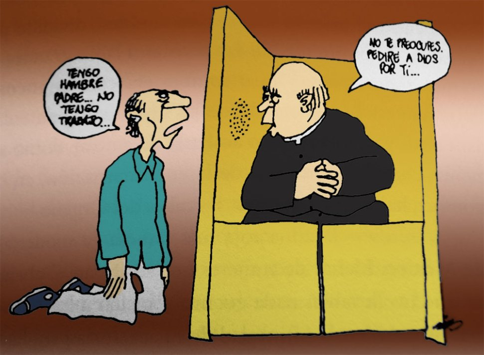 Postal de Rius sobre religión
