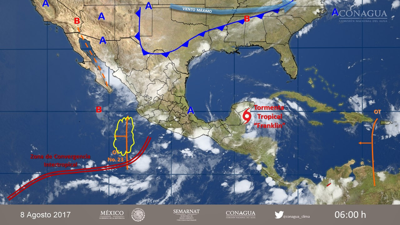 Se forma la tormenta tropical Franklin en aguas del mar Caribe
