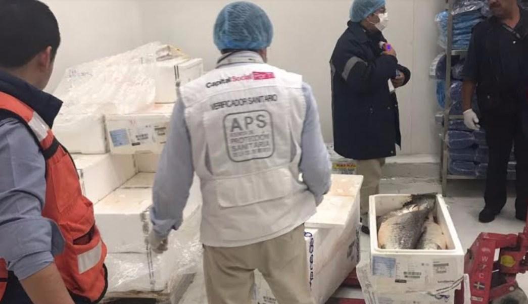 Aseguran media tonelada salmón aeropuerto CDMX