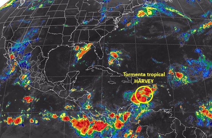 Tormenta tropical Harvey enfila a Centroamérica y Yucatán