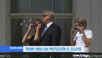 Trump Mira Proteccion Eclipse Solar Casa Blanca