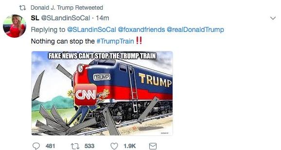 Trump retuitea caricatura de tren que atropella a hombre con etiqueta CNN