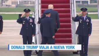 Trump Viaja Nueva York Medio Protestas Presidente Estados Unidos