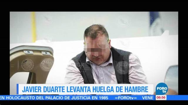 Javier Duarte, levanta, huelga, hambre