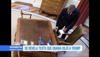 Revelan texto que dejó Obama a Trump antes de irse de la Casa Blanca